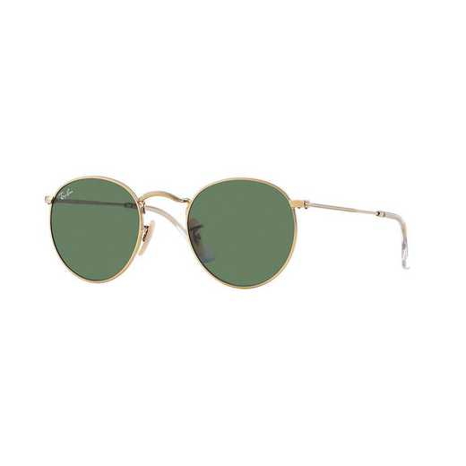 0RB344700150: Ray-Ban Round Metal Sunglasses - Gold/GRN